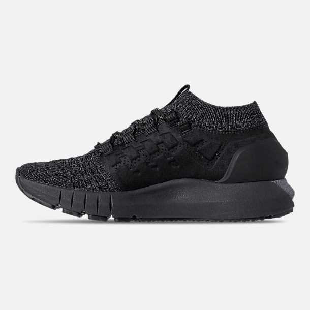 Left view of Men's Under Armour HOVR Phantom Heather Running Shoes in Black/Anthracite/Black