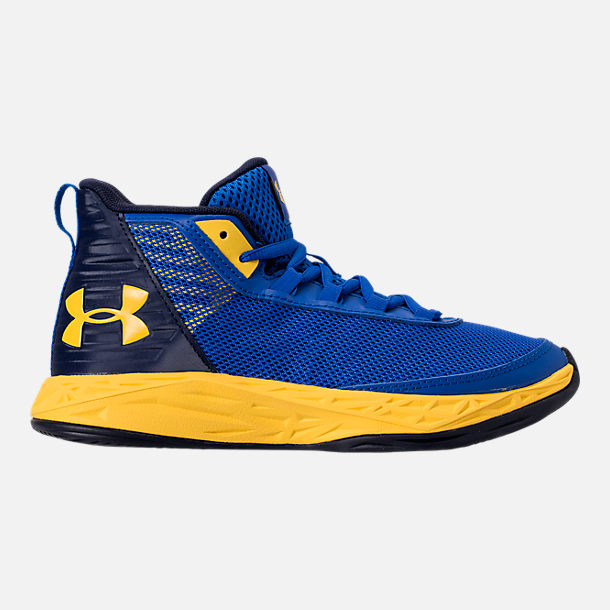 Right view of Boys' Big Kids' Under Armour Jet 2018 Basketball Shoes in Team Royal/Midnight/Taxi