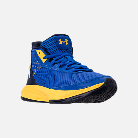 Three Quarter view of Boys' Big Kids' Under Armour Jet 2018 Basketball Shoes in Team Royal/Midnight/Taxi