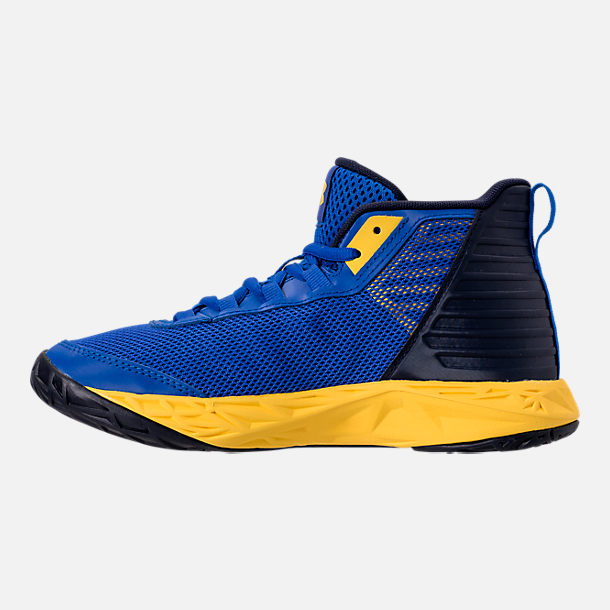 Left view of Boys' Big Kids' Under Armour Jet 2018 Basketball Shoes in Team Royal/Midnight/Taxi