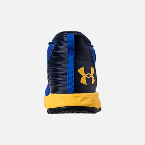 Back view of Boys' Grade School Under Armour Jet 2018 Basketball Shoes in Team Royal/Midnight/Taxi