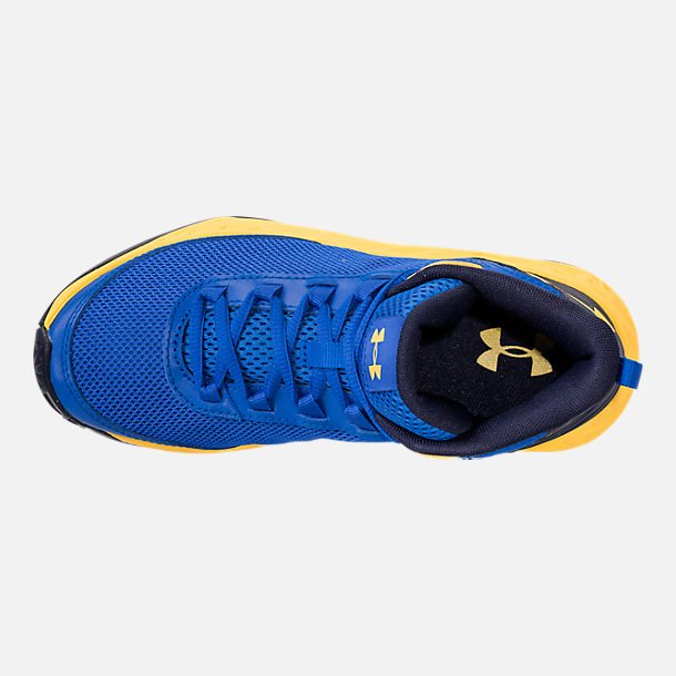 Top view of Boys' Grade School Under Armour Jet 2018 Basketball Shoes in Team Royal/Midnight/Taxi