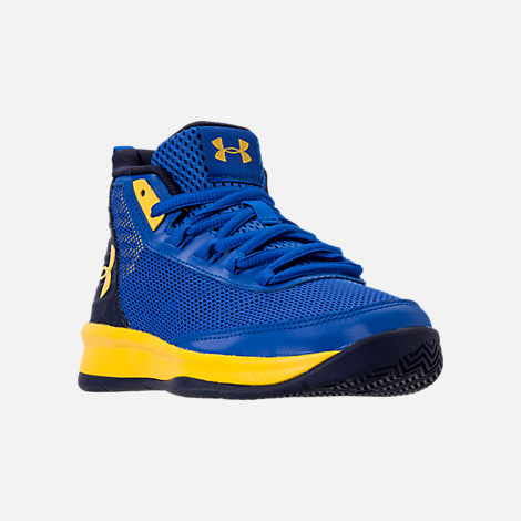 Three Quarter view of Boys' Little Kids' Under Armour Jet 2018 Basketball Shoes in Team Royal/Midnight/Taxi