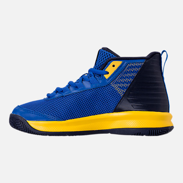 Left view of Boys' Little Kids' Under Armour Jet 2018 Basketball Shoes in Team Royal/Midnight/Taxi