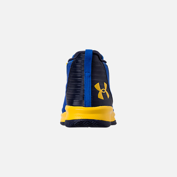 Back view of Boys' Little Kids' Under Armour Jet 2018 Basketball Shoes in Team Royal/Midnight/Taxi