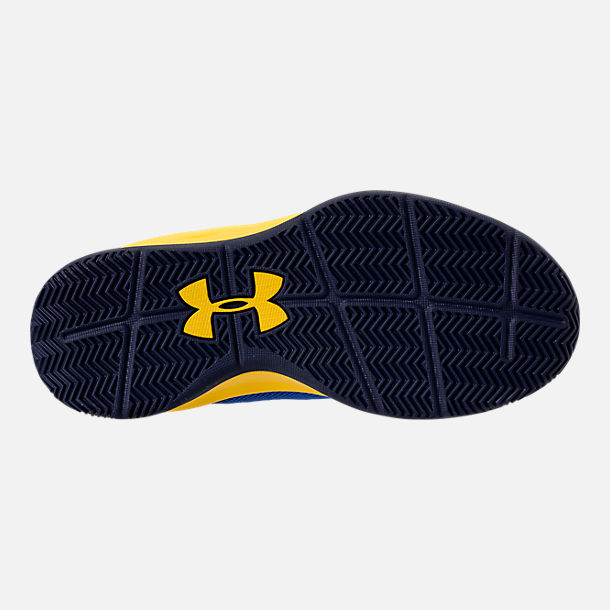 Bottom view of Boys' Little Kids' Under Armour Jet 2018 Basketball Shoes in Team Royal/Midnight/Taxi