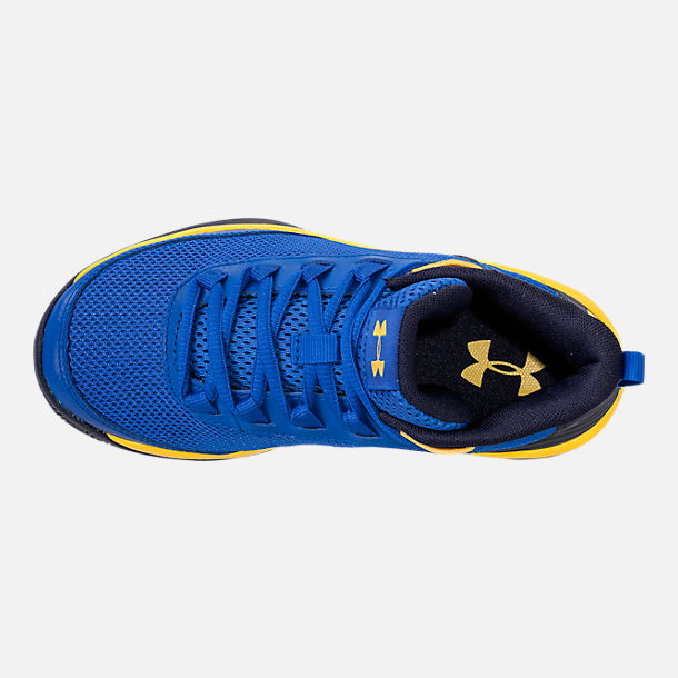 Top view of Boys' Little Kids' Under Armour Jet 2018 Basketball Shoes in Team Royal/Midnight/Taxi