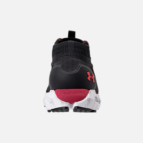 Back view of Men's Under Armour HOVR Phantom Running Shoes in Black/White/Red
