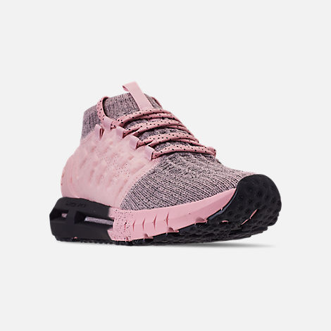 Three Quarter view of Women's Under Armour HOVR Phantom Running Shoes in Flushed Pink/Black