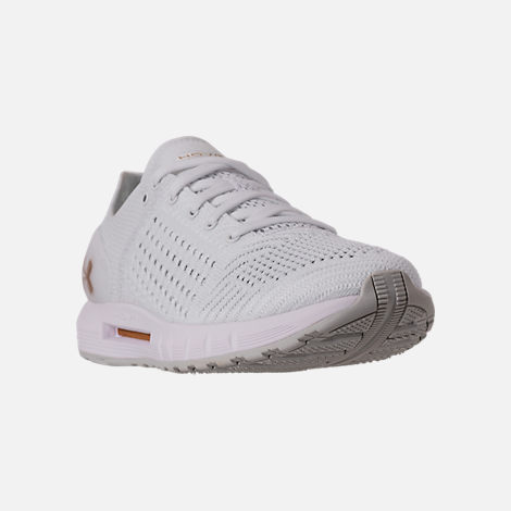 Three Quarter view of Women's Under Armour HOVR Sonic Running Shoes in White/Elemental