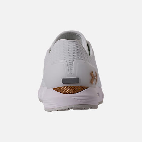 Back view of Women's Under Armour HOVR Sonic Running Shoes in White/Elemental
