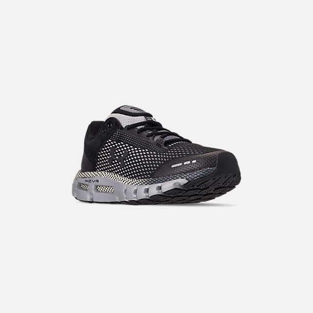 Three Quarter view of Men's Under Armour HOVR Infinite Running Shoes in Black/Pitch Grey/Metallic Gunmetal