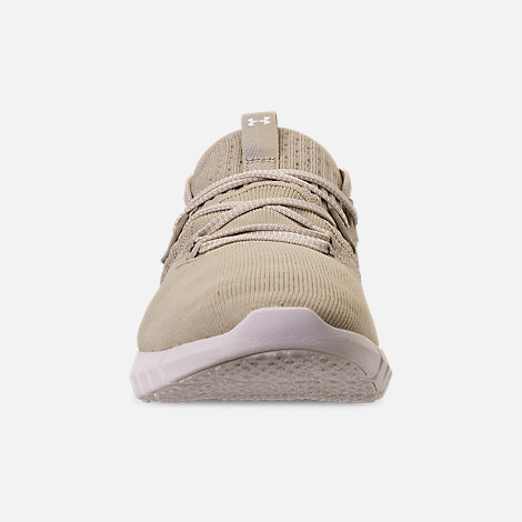 Front view of Men's Under Armour HOVR SLK EVO Running Shoes in Khaki Base/ Onyx White/Summit White