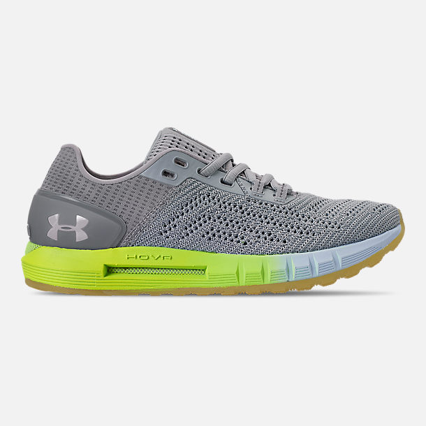Right view of Women's Under Armour HOVR Sonic 2 Running Shoes in Mod Grey/High-Vis Yellow/Onyx