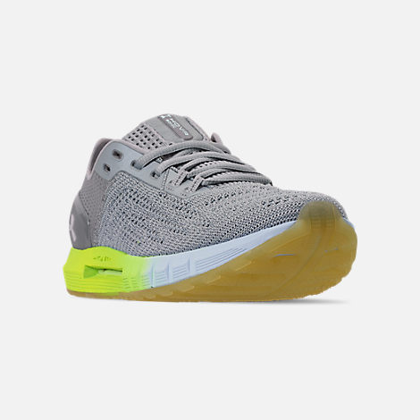 Three Quarter view of Women's Under Armour HOVR Sonic 2 Running Shoes in Mod Grey/High-Vis Yellow/Onyx