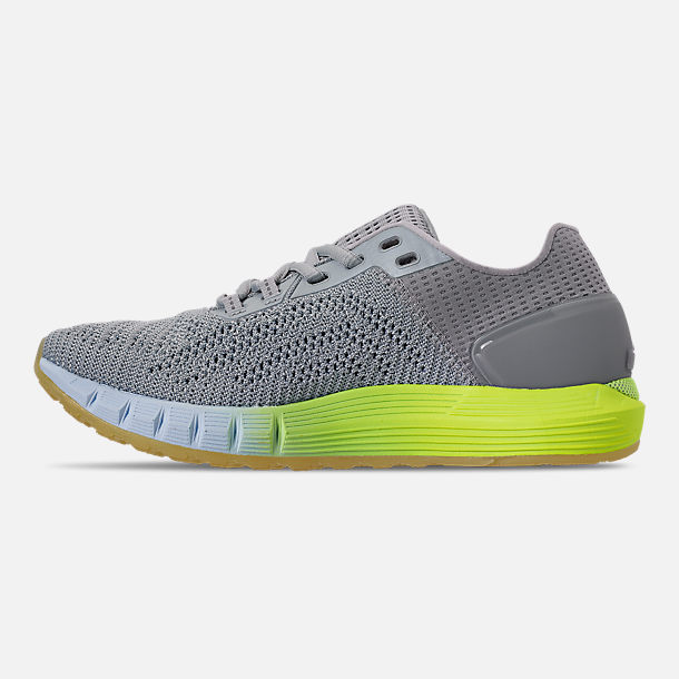Left view of Women's Under Armour HOVR Sonic 2 Running Shoes in Mod Grey/High-Vis Yellow/Onyx
