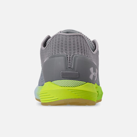 Back view of Women's Under Armour HOVR Sonic 2 Running Shoes in Mod Grey/High-Vis Yellow/Onyx