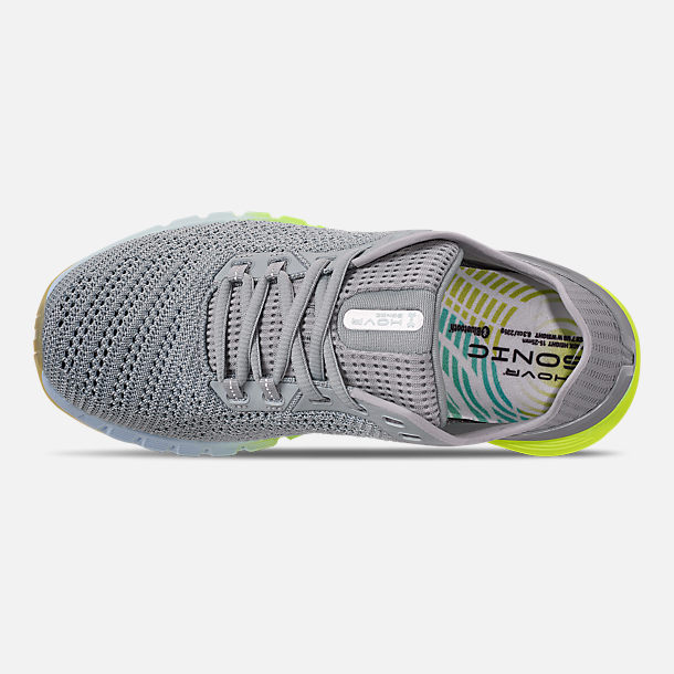 Top view of Women's Under Armour HOVR Sonic 2 Running Shoes in Mod Grey/High-Vis Yellow/Onyx