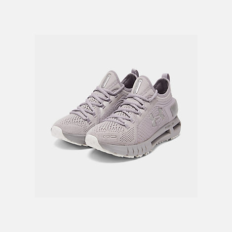 Three Quarter view of Women's Under Armour HOVR Phantom SE Running Shoes in Onyx White/Tetra Gray/Metal
