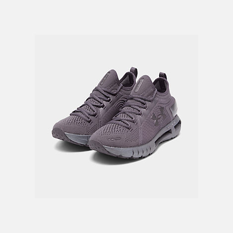 Three Quarter view of Women's Under Armour HOVR Phantom SE Running Shoes in Ash Taupe/Ash Taupe/Metal