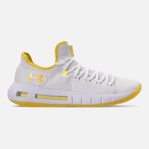 Right view of Men's Under Armour HOVR Havoc Low Basketball Shoes in White/White/Lemon