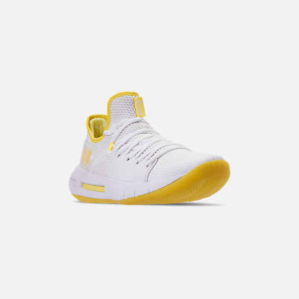 Three Quarter view of Men's Under Armour HOVR Havoc Low Basketball Shoes in White/White/Lemon