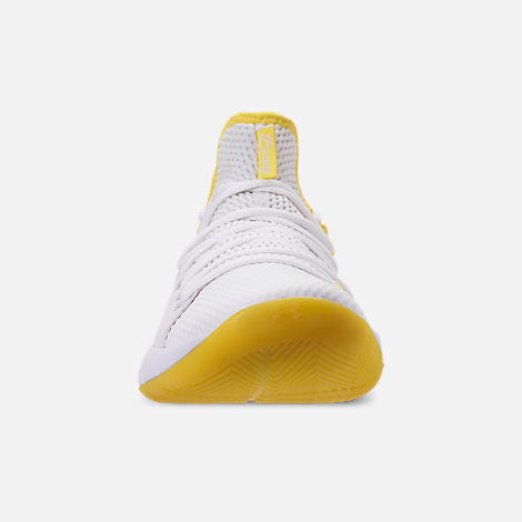 Front view of Men's Under Armour HOVR Havoc Low Basketball Shoes in White/White/Lemon