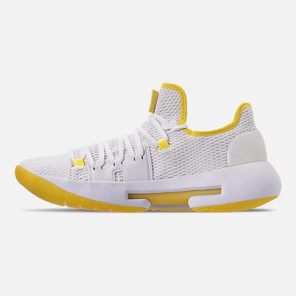 Left view of Men's Under Armour HOVR Havoc Low Basketball Shoes in White/White/Lemon
