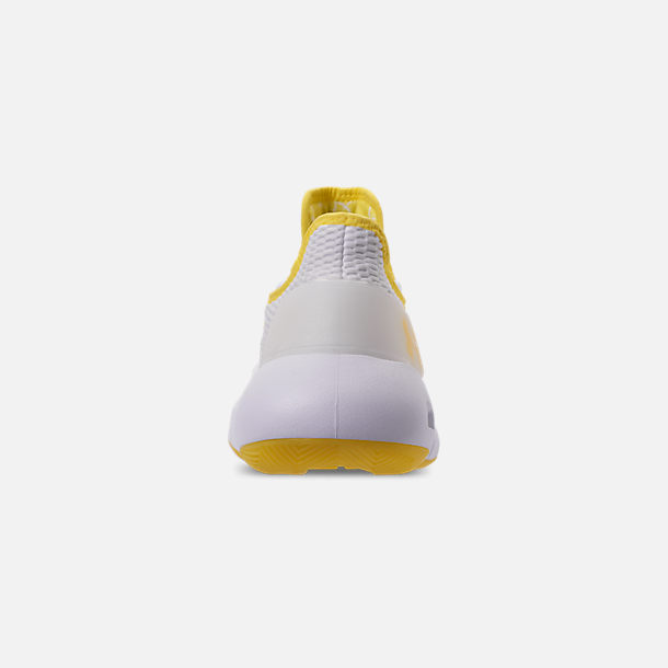 Back view of Men's Under Armour HOVR Havoc Low Basketball Shoes in White/White/Lemon