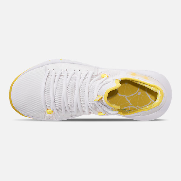 Top view of Men's Under Armour HOVR Havoc Low Basketball Shoes in White/White/Lemon