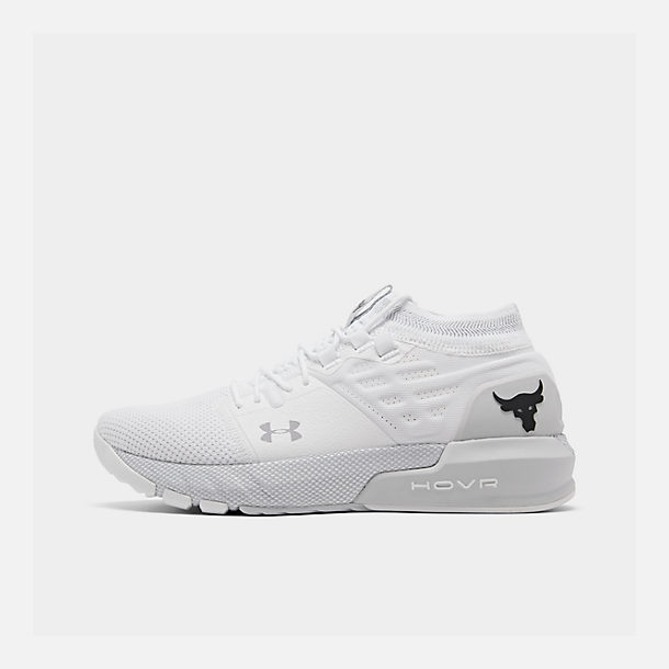 Right view of Men's Under Armour Project Rock 2 Training Shoes in White/White/Black