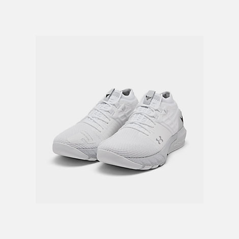 Three Quarter view of Men's Under Armour Project Rock 2 Training Shoes in White/White/Black
