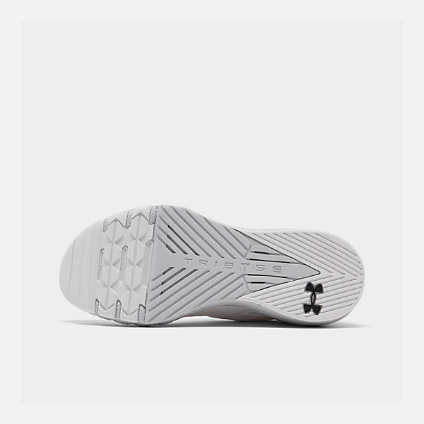 Bottom view of Men's Under Armour Project Rock 2 Training Shoes in White/White/Black
