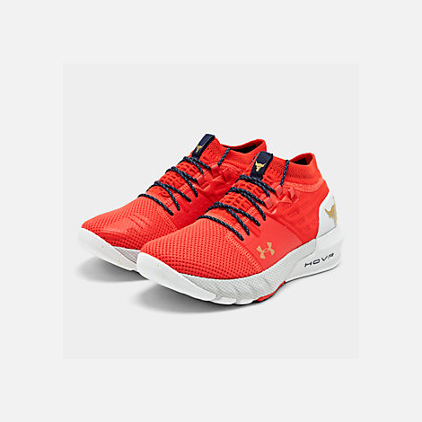 Three Quarter view of Men's Under Armour Project Rock 2 Training Shoes in Anthem Red/Halo Grey/Metallic Grey
