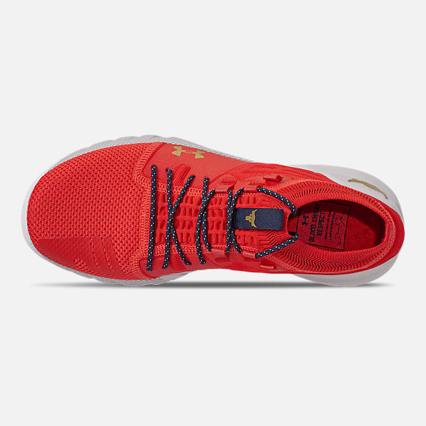 Top view of Men's Under Armour Project Rock 2 Training Shoes in Anthem Red/Halo Grey/Metallic Grey