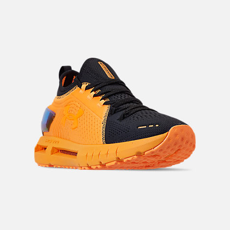 Three Quarter view of Men's Under Armour HOVR Phantom SE MD Running Shoes in Mango Orange/Black/Papaya