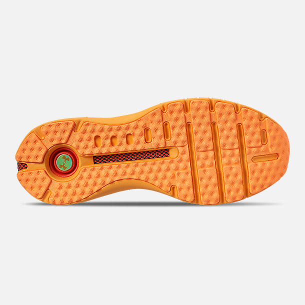 Bottom view of Men's Under Armour HOVR Phantom SE MD Running Shoes in Mango Orange/Black/Papaya