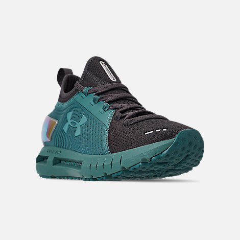 Three Quarter view of Women's Under Armour HOVR Phantom SE MD Running Shoes in Aure Teal/Black/Azure Teal
