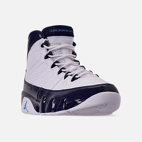 Three Quarter view of Men's Air Jordan 9 Retro Basketball Shoes in White/University Blue/Midnight Navy