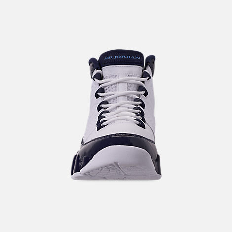 Front view of Men's Air Jordan 9 Retro Basketball Shoes in White/University Blue/Midnight Navy