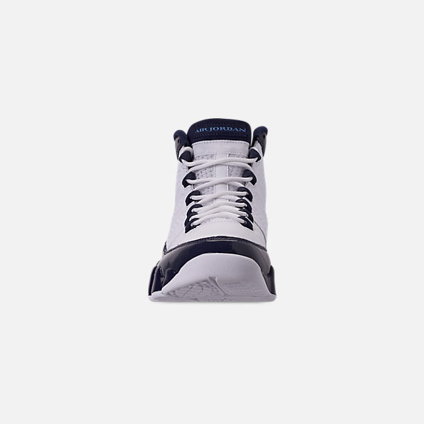 Front view of Men's Air Jordan Retro 9 Basketball Shoes in White/University Blue/Midnight Navy