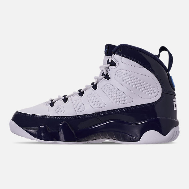 8ab1f781ef545d Left view of Men's Air Jordan Retro 9 Basketball Shoes in White/University  Blue/
