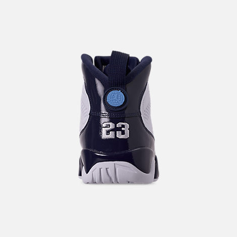 Back view of Men's Air Jordan 9 Retro Basketball Shoes in White/University Blue/Midnight Navy