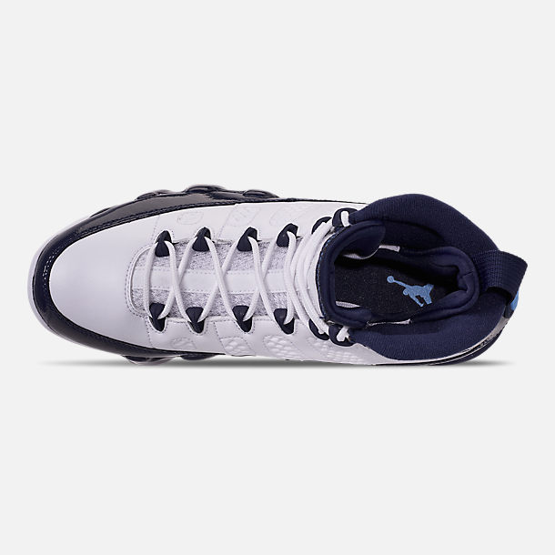 Top view of Men's Air Jordan 9 Retro Basketball Shoes in White/University Blue/Midnight Navy
