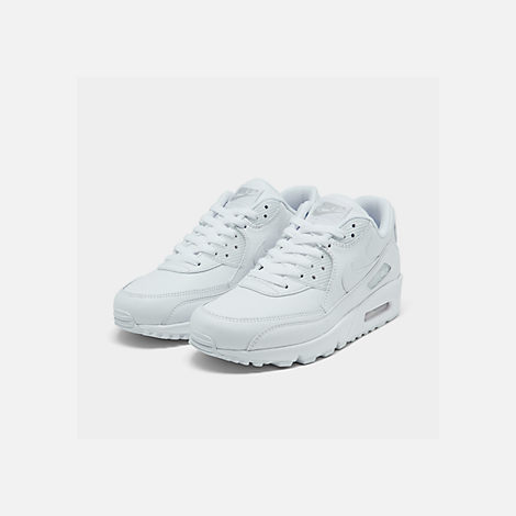 Three Quarter view of Men's Nike Air Max 90 Leather Casual Shoes in White
