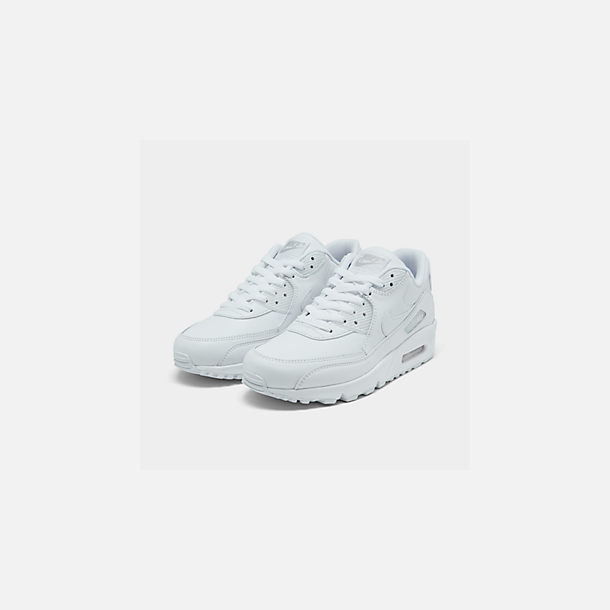 7d9aa1842b Three Quarter view of Men's Nike Air Max 90 Leather Casual Shoes in White