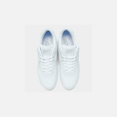 Back view of Men's Nike Air Max 90 Leather Casual Shoes in White