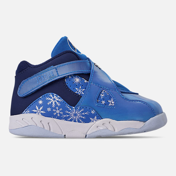 Right view of Kids' Toddler Air Jordan Retro 8 Basketball Shoes in Cobalt Blaze/Blue Void/White