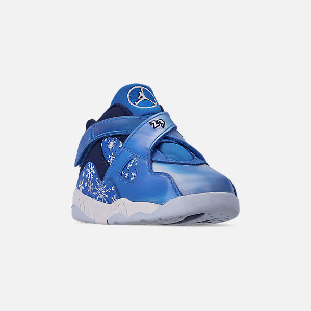Three Quarter view of Kids' Toddler Air Jordan Retro 8 Basketball Shoes in Cobalt Blaze/Blue Void/White