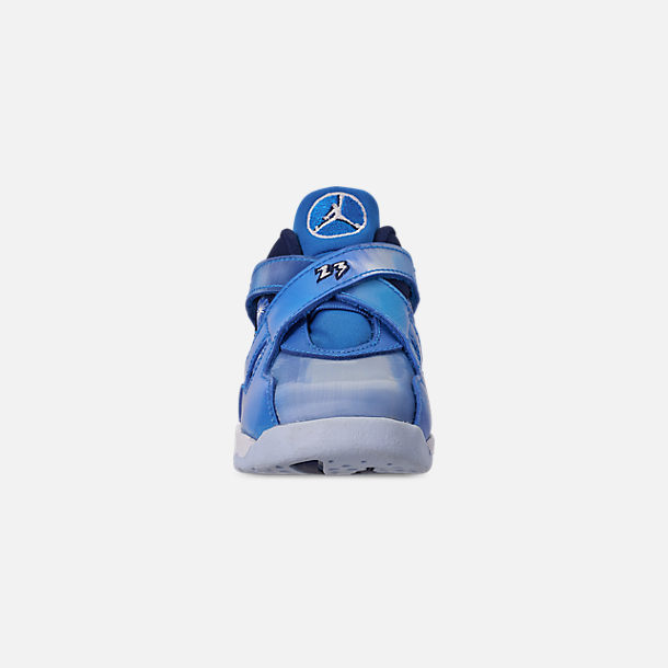 Front view of Kids' Toddler Air Jordan Retro 8 Basketball Shoes in Cobalt Blaze/Blue Void/White